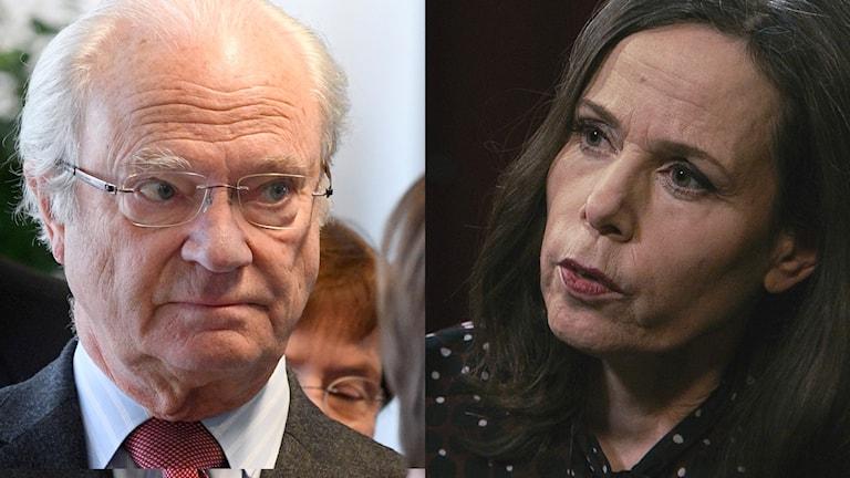 Två foton. Kungen och Svenska Akademiens ledare Sara Danius.