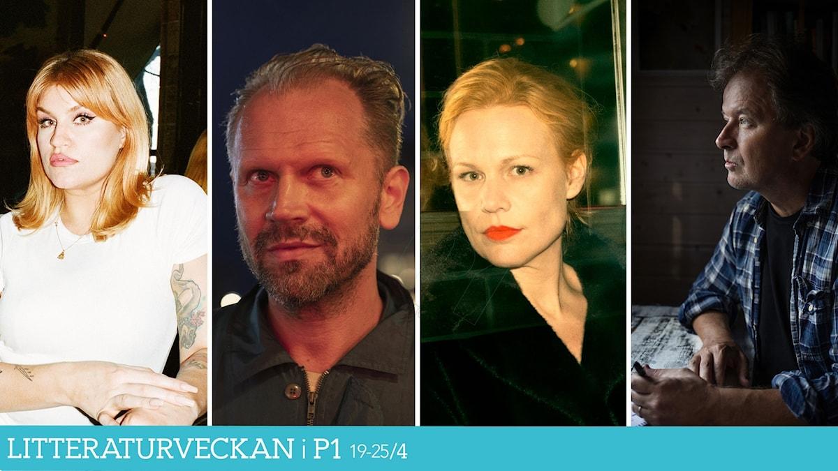 """Kollage med de nominerade till Sveriges Radios Romanpris 2021 är """"Splendor"""" av Stefan Lindberg, """"Caesaria"""" av Hanna Nordenhök , """"Dagarna, dagarna, dagarna"""" av Tone Schunnesson och """"Tritonus"""" av Kjell Westö."""