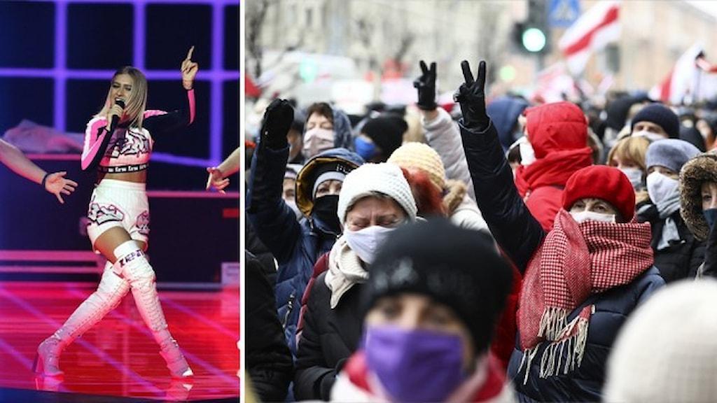 Zena of Belarus under Eurovision 2019 på scenen och en folkmassa som protesterar.