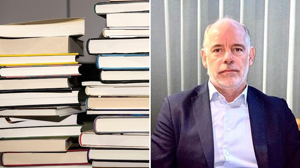 Två travar böcker och Per Almgren, vd på Natur & kultur.