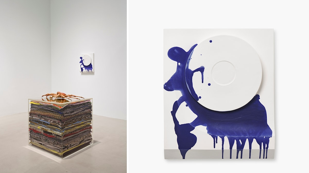 Rosemarie Trockel, installationsvy och verket A day in bed.