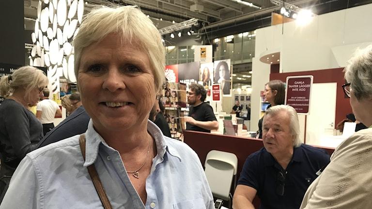 Laila Gjertz besöker Bokmässan varje år. Fick bok signerad av Jan Guillou.