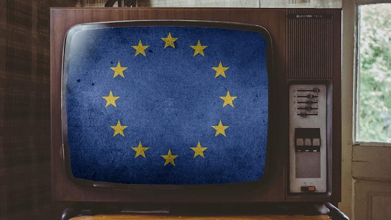 En EU-flagga i en tv-apparat.