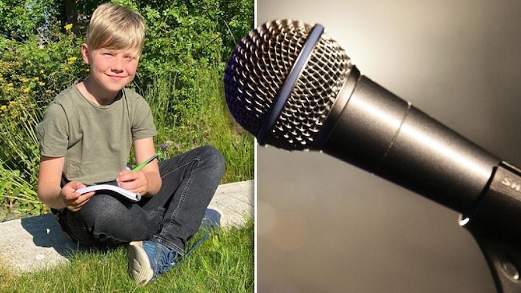 8-årige Otto Löfqvist sitter i gräset med ett block och en penna i knät. Infällt är en mikrofon.