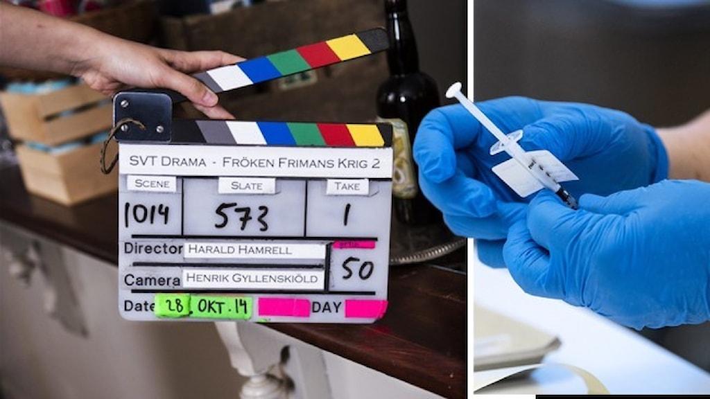 En filmklappa och två handskbeklädda händer som håller i en vaccinspruta.