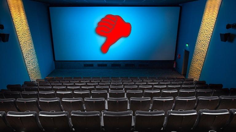 Biograf med en hand som ger tumme ner.