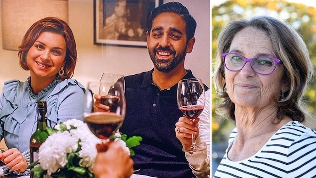 """Stillbild från filmen """"Suedi"""": Personer som skålar i rödvin runt ett middagsbord. Porträtt av skådespelaren Suzanne Reuter, klädd i randig tröja."""