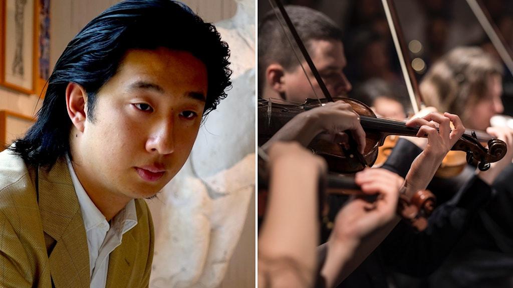 Till vänster: Pianisten John Nalan. Till höger: delar av en symfoniorkester.
