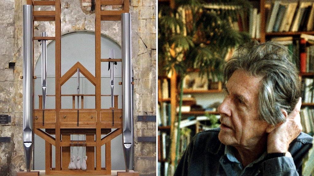 Orgeln i Halberstadt där pedalerna hålls ner av sandsäckar. Tonsättaren John Cage som en gång skrev stycket.