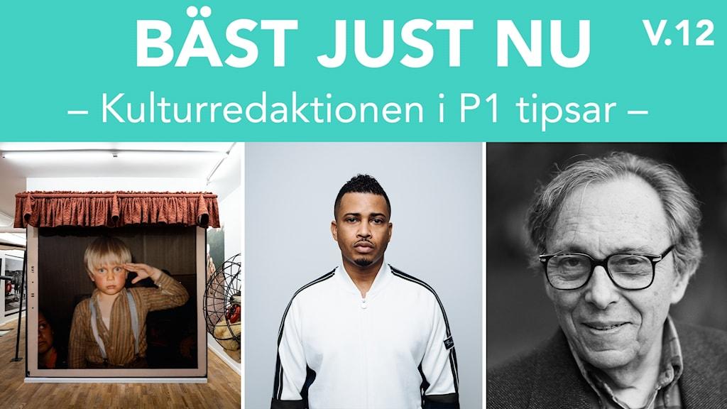 Bild från Peter Johanssons utställning Barnatro, Erik Lundin och litteraturkritikern Jean Starobinski.