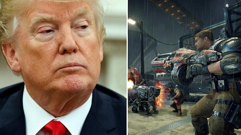 Donald Trump och spelet Gears of War 4.
