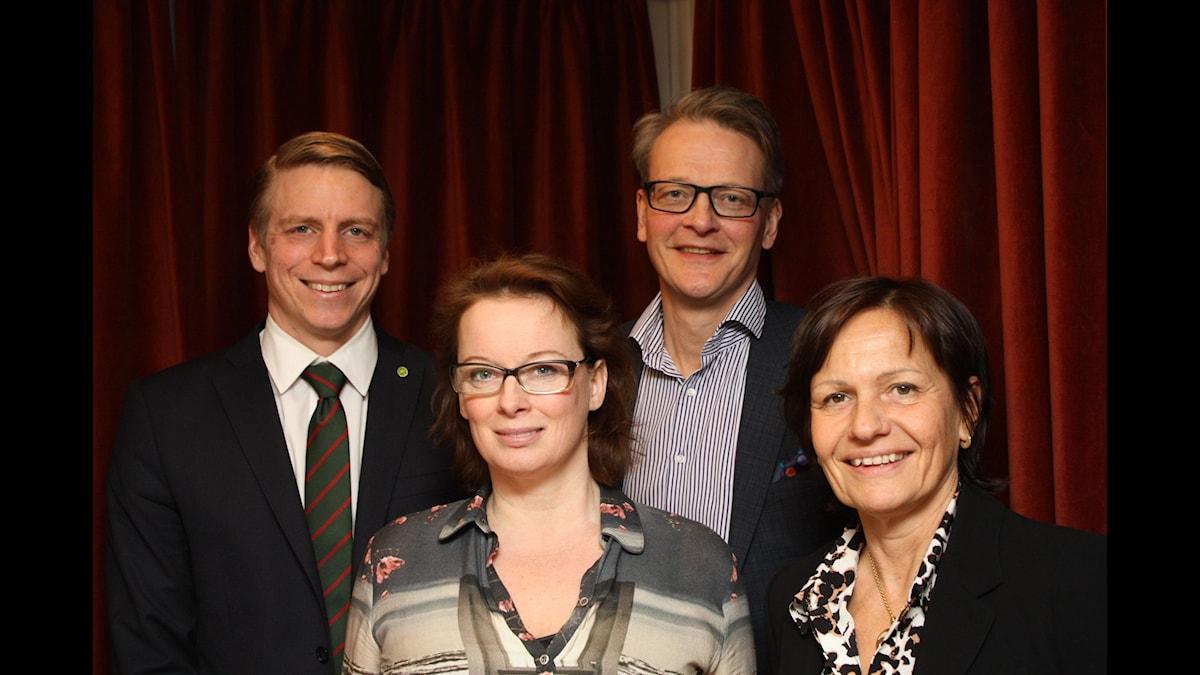 Per Bolund, Camilla Wagner, Carl Rosén och Kerstin Hessius samtalar om bristen på kvinnliga styrelseledamöter. Foto, Anna Iversen.