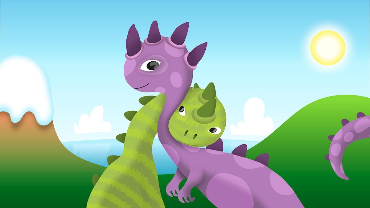 Barnradions poddpaket - Dinopodden. Illustration: Mattias Stridbeck.
