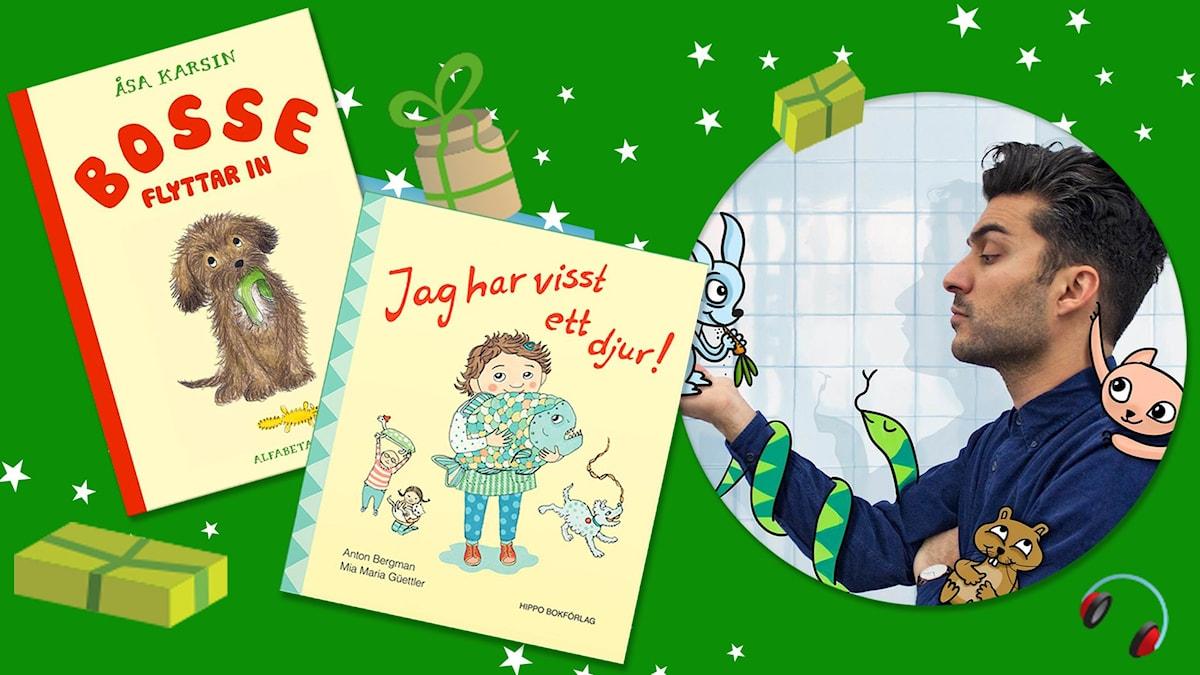 """Husdjurspaketet med böckerna """"Bosse flyttar in"""" och """"Jag har visst ett djur!"""" och programmet Barnmorgon med Farzad."""