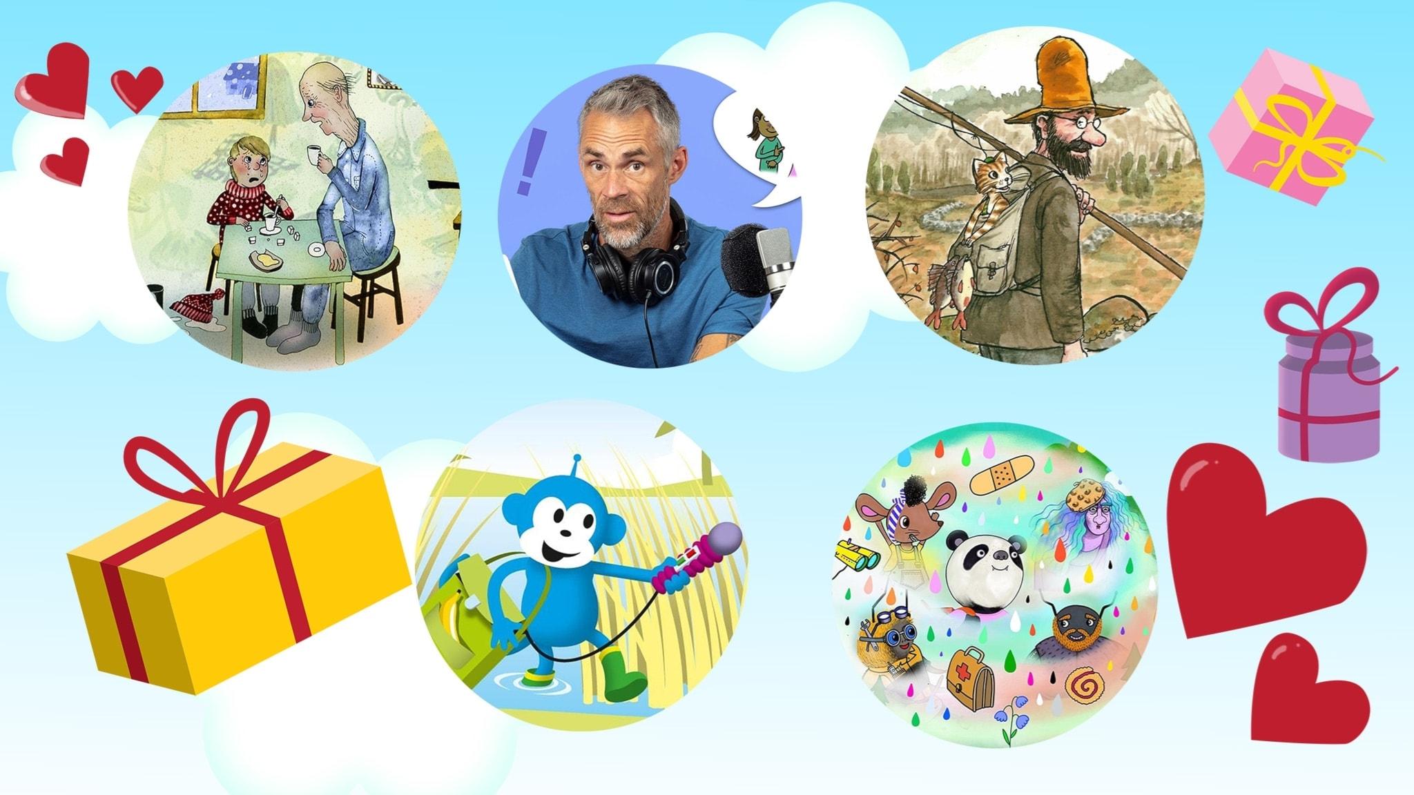 Det känsliga paketet med bilder från Våffelhjärtat, Barnmorgon med Jonas, Radioapans fågelsånger, Pettson och Findus samt Magiska skogen.