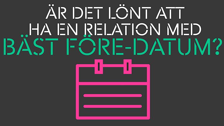 """Grafisk bild där det står """"Är det lönt att ha en relation med bäst före-datum?"""""""