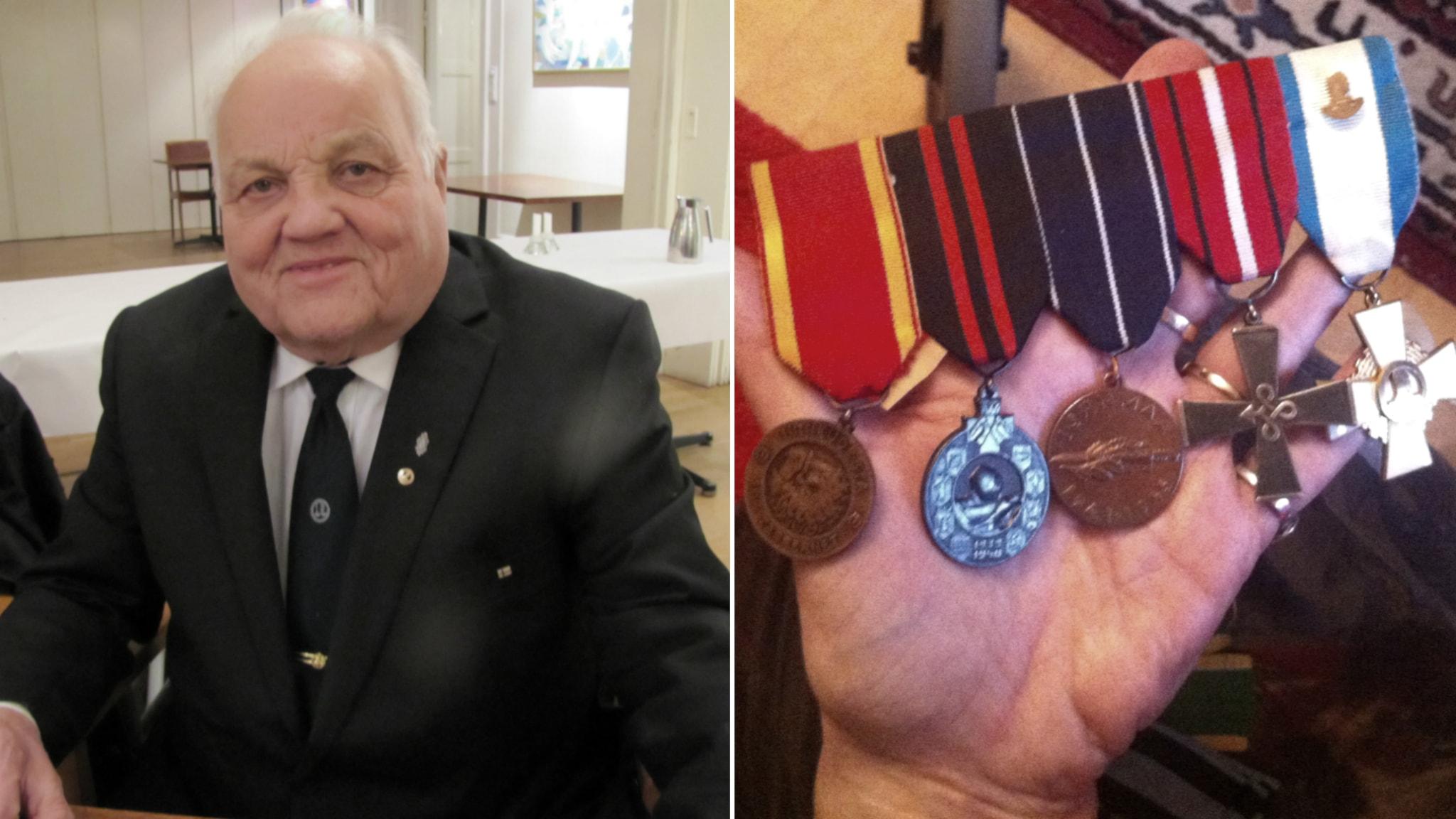 Sotaveteraani Aapo Knaapi ja hänen sodassa ansaitsemansa kunniamerkit. Foto: Soili Huokuna / Sveriges Radio Sisuradio