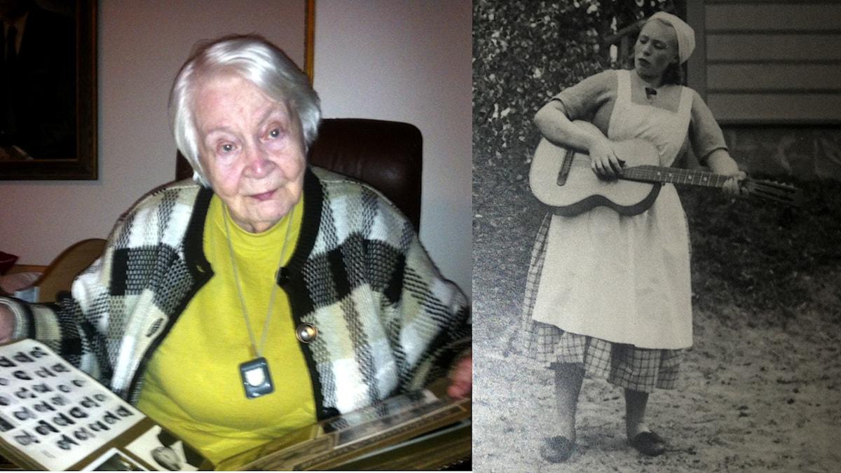 Kaksi kuvaa: Karin Holm vuonna 2014 ja toisessa kuvassa rintamateatterissa soittamassa mandoliinia. Foto: Soili Huokuna / Sveriges Radio Sisuradio & Privat