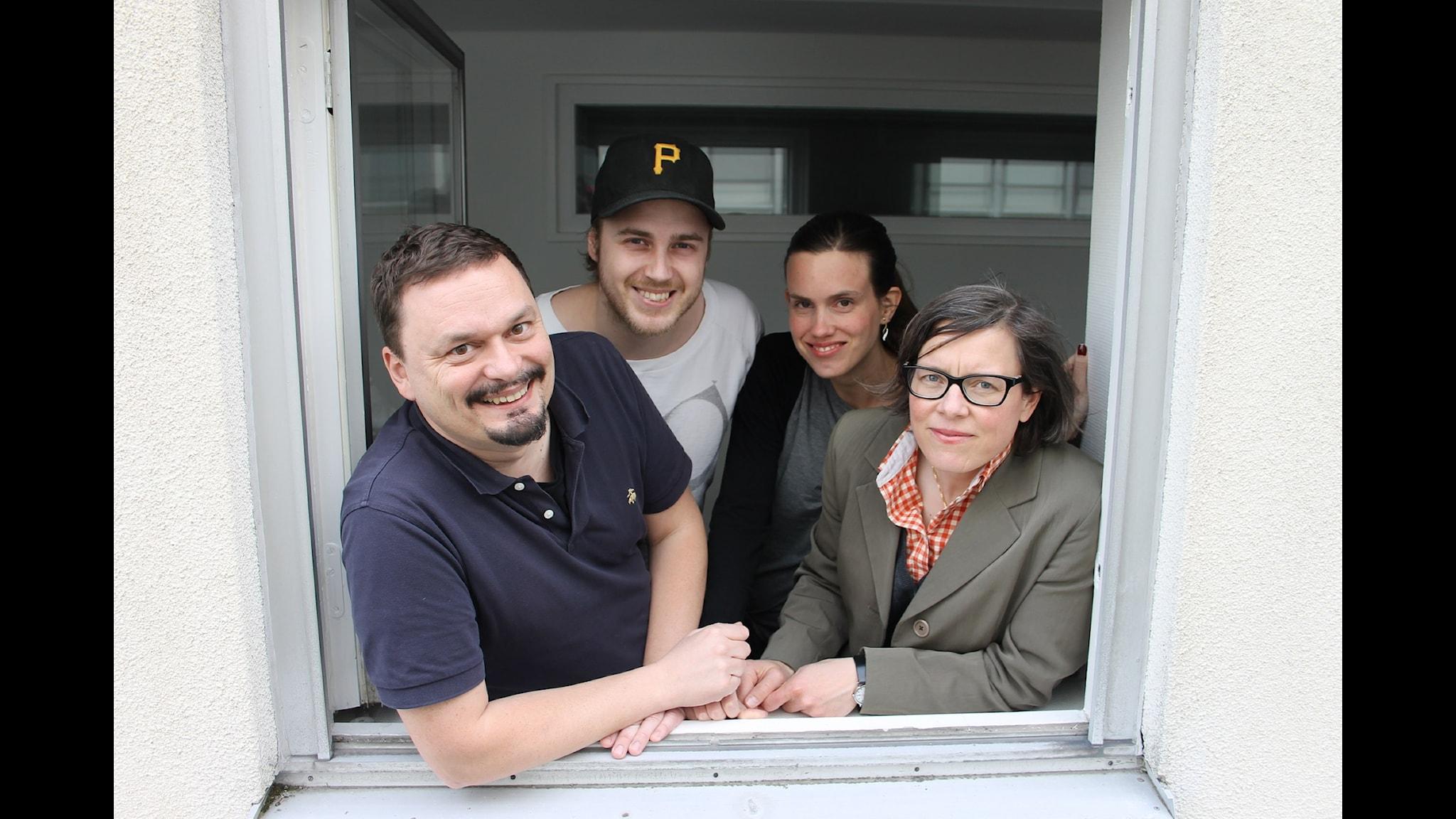Roger Wilson, Tobias Norström, Maria Brander och Lena Andersson i Wilsons vecka. Foto: Anna-Karin Ivarsson/Sveriges Radio.