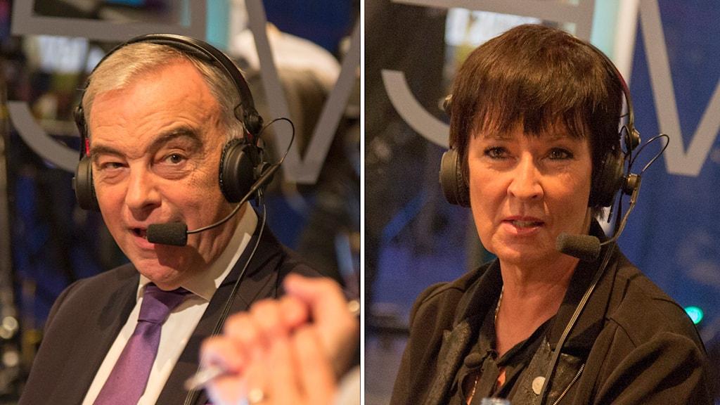 Lars Leijonborg, Mona Sahlin. Foto: Sveriges Radio.