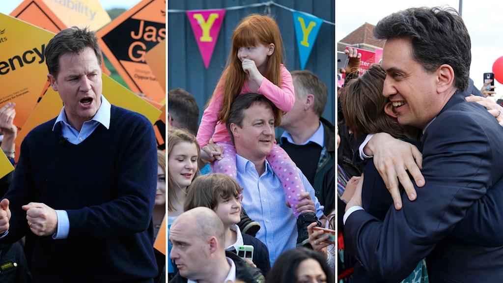 Valkampanjer i Storbritannien. Nick Clegg, Liberaldemokraterna, David Cameron, Tories och Ed Miliband, Labour. Foto: TT.