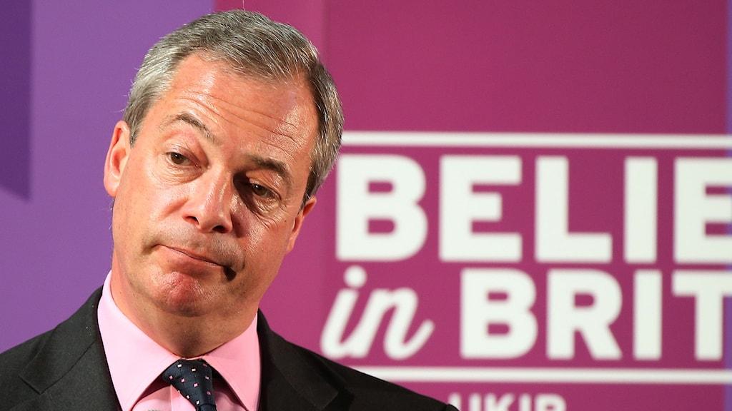 Nigel Farage, partiledare för det brittiska partiet Ukip. Foto: Scott Heppell/TT.