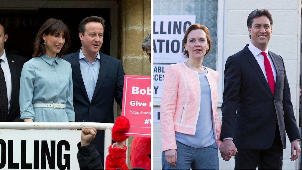 Premiärminister David Miliband och Labourledaren Ed Miliband röstar på var sitt håll i valet den 7 maj. Foto: Jon Super/Alastair Grant/TT.