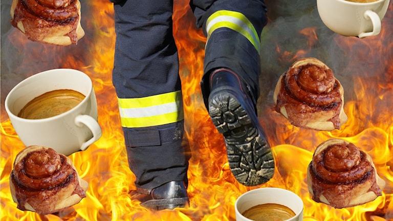 En brandman som går rakt igenom en eld. Runt elden är det strösslat med fika.