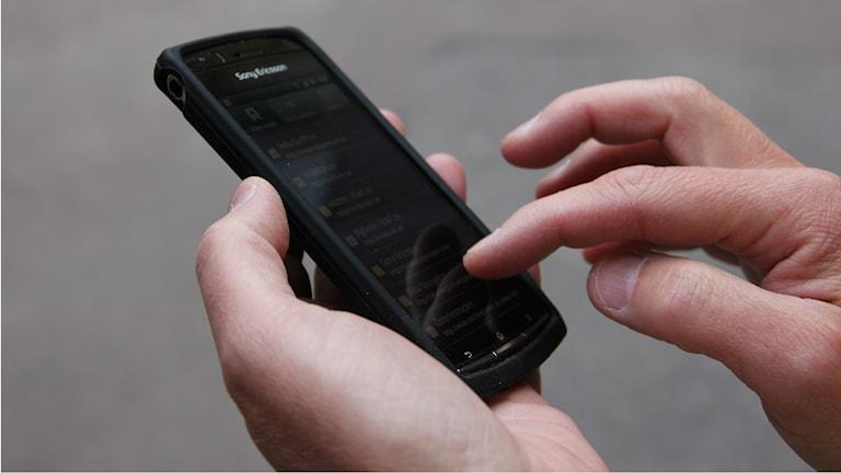En hand som håller en mobiltelefon Foto: Karin Olsson-Bendix/Sveriges Radio