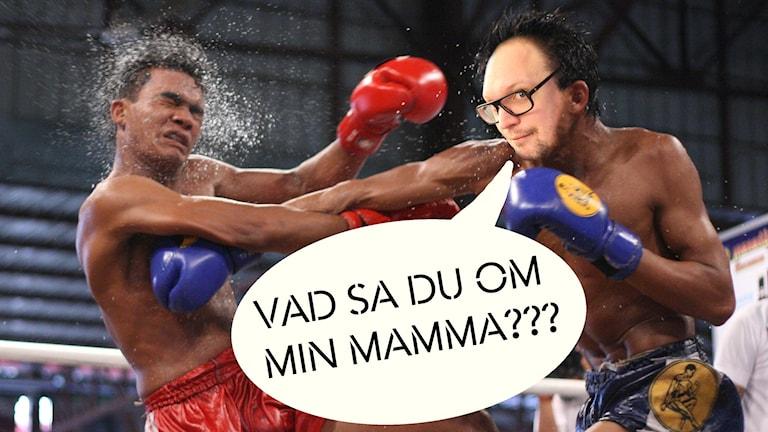 """Redigerad bild där Jonatans huvud är inklippt på en thaiboxare som boxar en motståndare i ansiktet. I en pratbubbla står det """"Vad ska du om min mamma???"""". Foto: Robert Starkweather/CC BY 2.0/Gustaf Widegård/SR"""