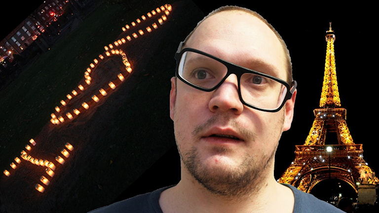 """Redigerade bild på Jonatan med Eiffeltornet i bakgrunden samt en bild på levande ljus som bokstaverar """"I love you"""". Foto: Flickr/CC BY 2.0/Gustaf Widegård/SR"""