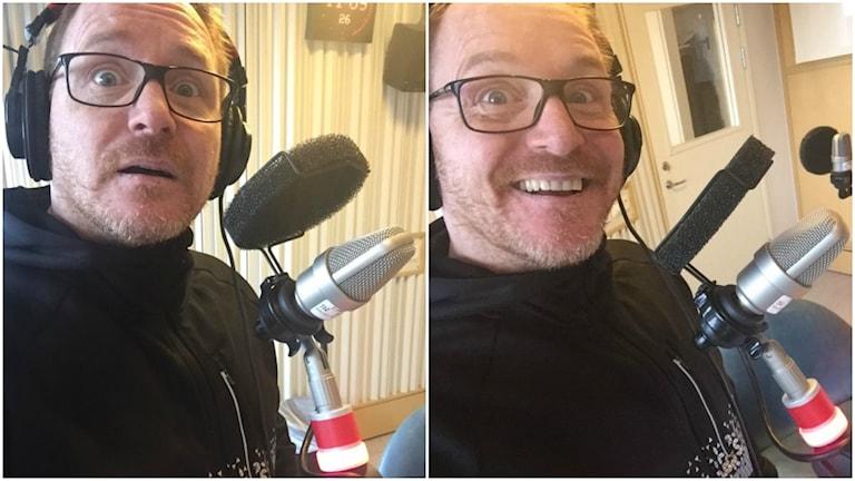 Morgan alling är med på två bilder från studion i Stockholm, På vänstra bilden ser han förvånad ut, på den högra glad. Foto: Morgan Alling