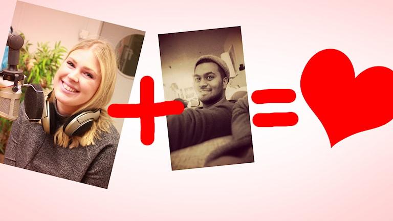 Till vänster är en bild på veckans singel Amanda. Till höger en bild på hennes telefondejt Jonatan. Det är ett plustecken mellan bilderna, sen ett likhetstecken följt av ett hjärta. Foto: Gustaf Widegård/SR