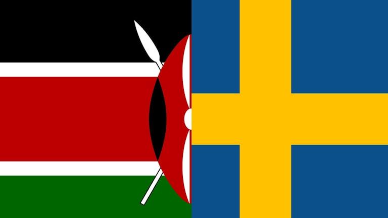 En kalv kenyansk flagga och en halv svensk flagga.
