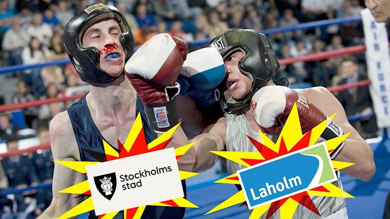 """Redigerad bild som ska symbolisera att Laholms kommun spöar Stockholms stad. På bilden är två boxare, den enda knockar den andre, och på deras bröst är det fult inklistrat """"Laholm"""" och """"Stockholms stad""""."""