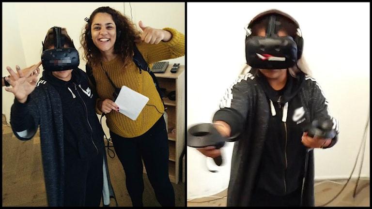 En bild som består av två bilder. På vänstra bilden står Farah och Arantxa bredvid varandra och vinkar. På högra bilden har Arantxa på sig full VR-utrustning och är i full färd med att spela.