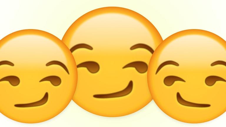 """Bild på tre smiley som påstås """"hånle"""" av vissa och """"flörta"""" av andra. Vi på redaktionen tror stenhårt på att den flörtar."""
