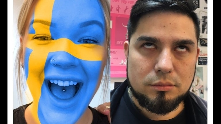 Isabelle har Sveriges flagga på ansiktet och Juan himlar med ögonen.