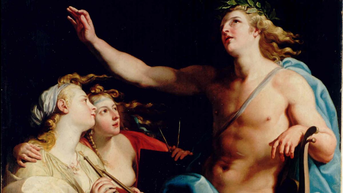 Apollo med astronomins och musikens musor Batoni