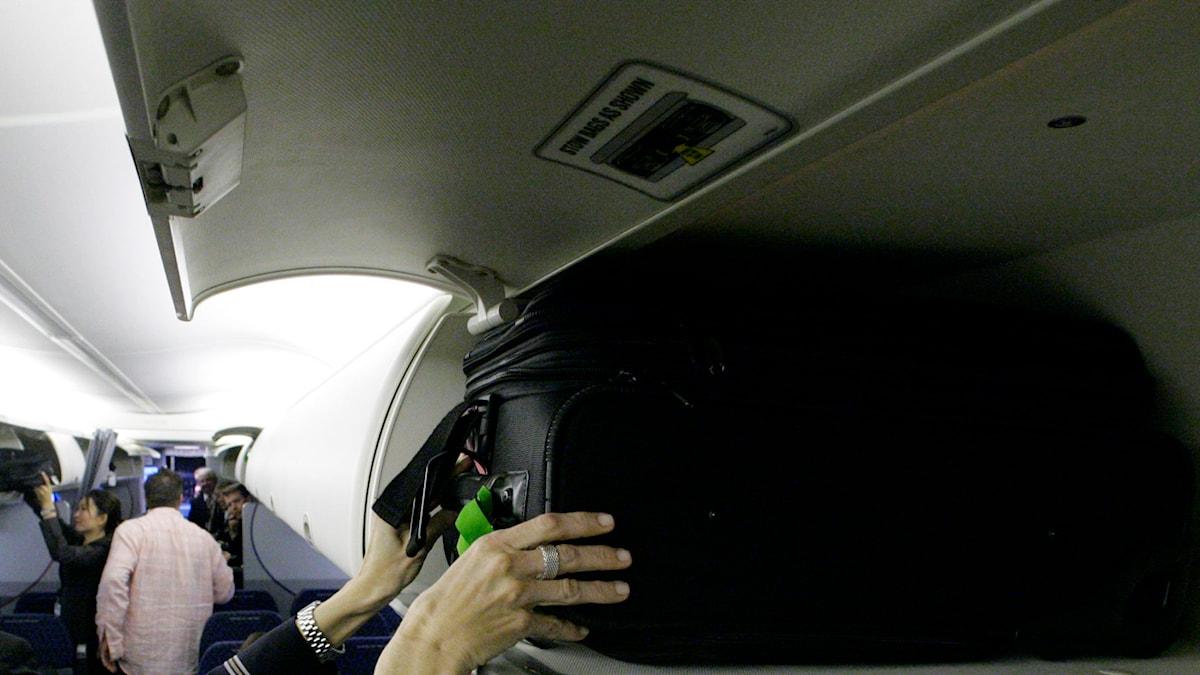 Flygvärdinna lägger upp kabinbaggage. Foto: Donna McWilliam/TT