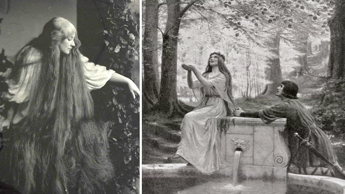 Mary Garden som den första Mélisande och målning av Pelléas och Mélisande.