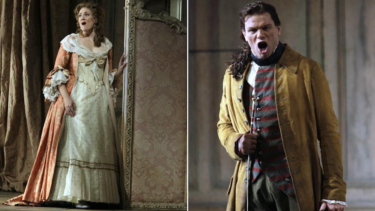 Emma Bell och Bo Skovhus som greven och grevinnan i Metropolitanoperans uppsättning av Figaros bröllop 2009.