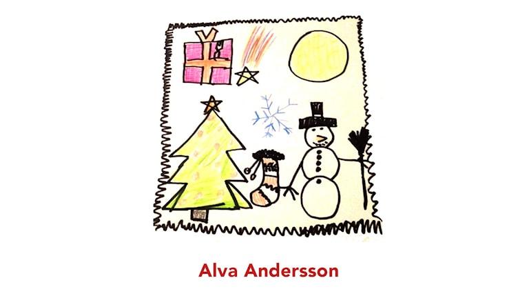 Frimärkestävlingen, Julkalendern 2015. Bidraget är tecknat av Alva Andersson.