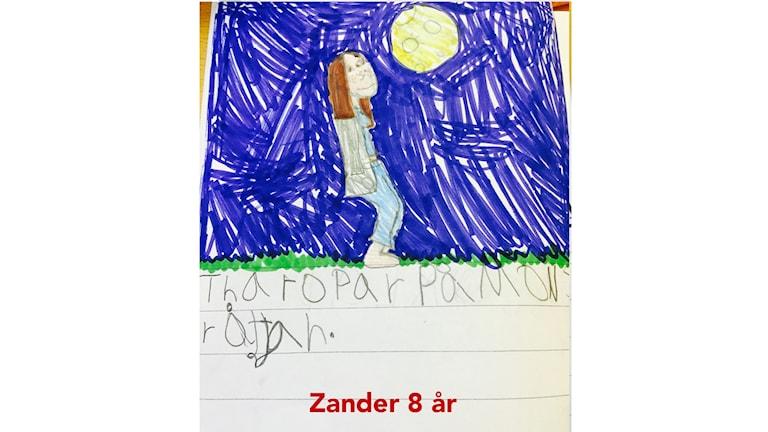 Tea ropar på Månsaråttan. Illustration: Zander, 8 år