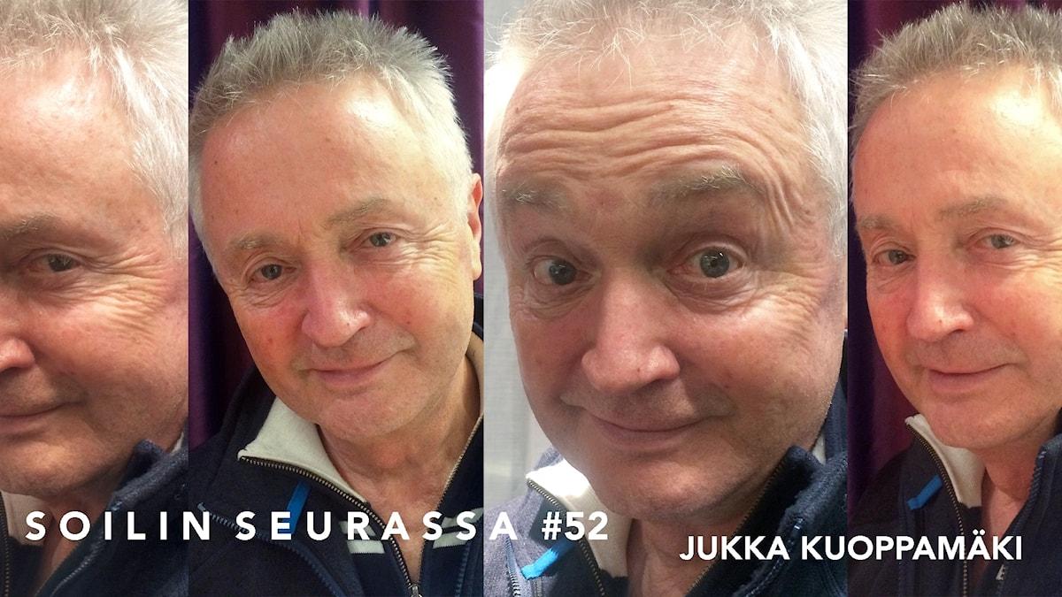 Kuvakollaasissa Jukka Kuoppamäellä neljä ilmettä.