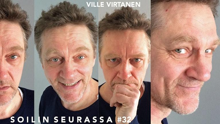 Kuvakollaasissa Ville Virtasen neljä eri ilmettä.