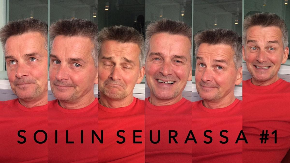 Kuuden kuvan kollaasi: Pekka Heino Soilin seurassa. Foto: Soili Huokuna / Sveriges Radio Sisuradio