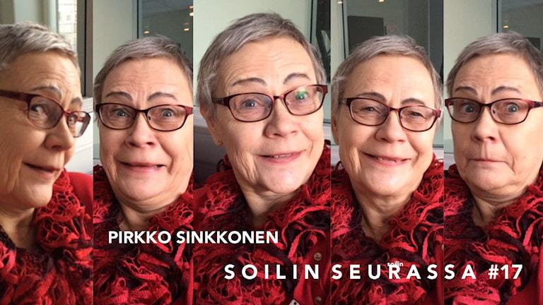 Viiden kuvan kollaasi Pirkko Sinkkosesta. Foto: Soili Huokuna / Sveriges Radio Sisuradio