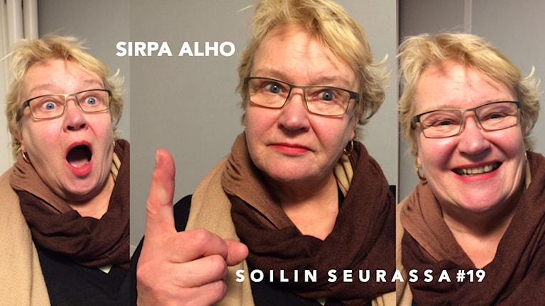 Kolmen kuvan kollaasi: Sirpa Alho. Foto: Soili Huokuna / Sveriges Radio Sisuradio