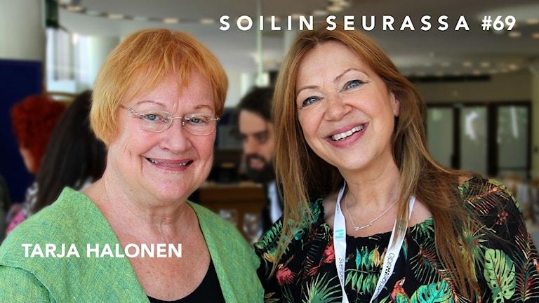 Presidentti Tarja Halonen ja Sisuradion Soili Huokuna.